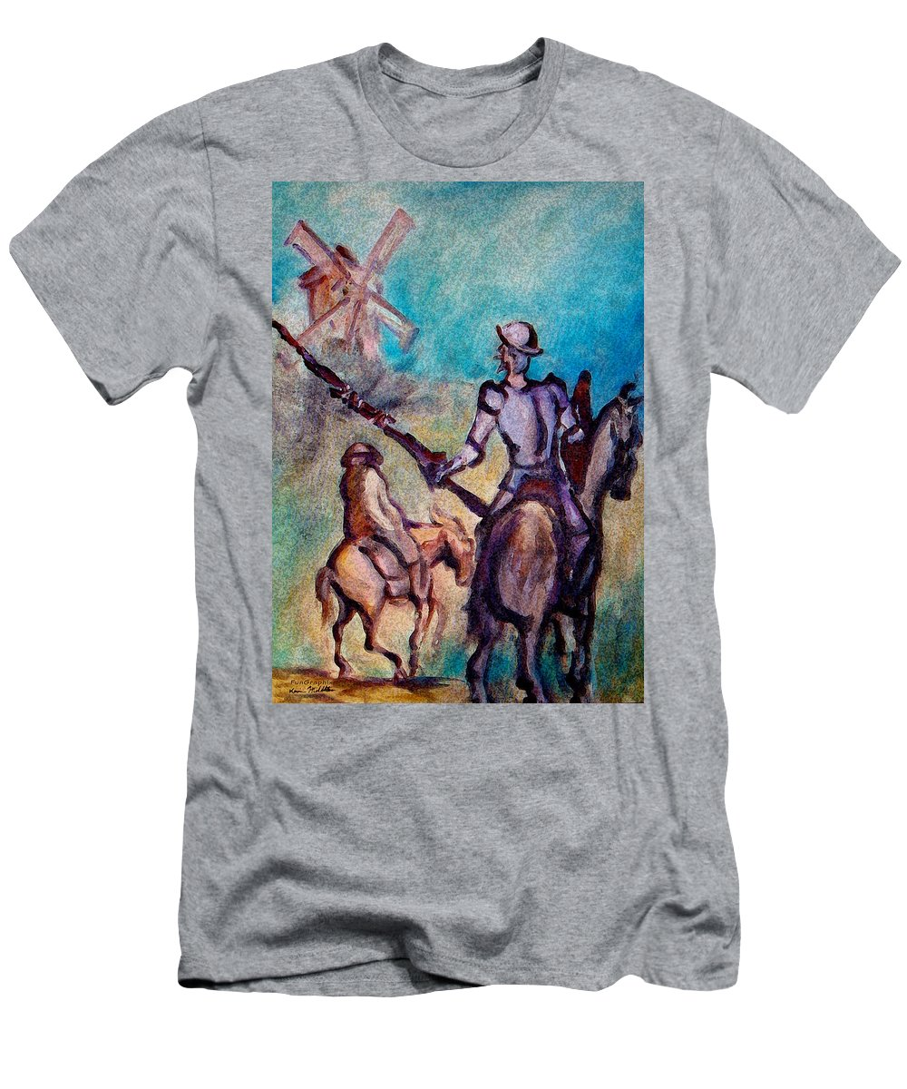 Don Quixote Men's T-Shirt (Athletic Fit) featuring the painting Don Quixote With Windmill by Kevin Middleton