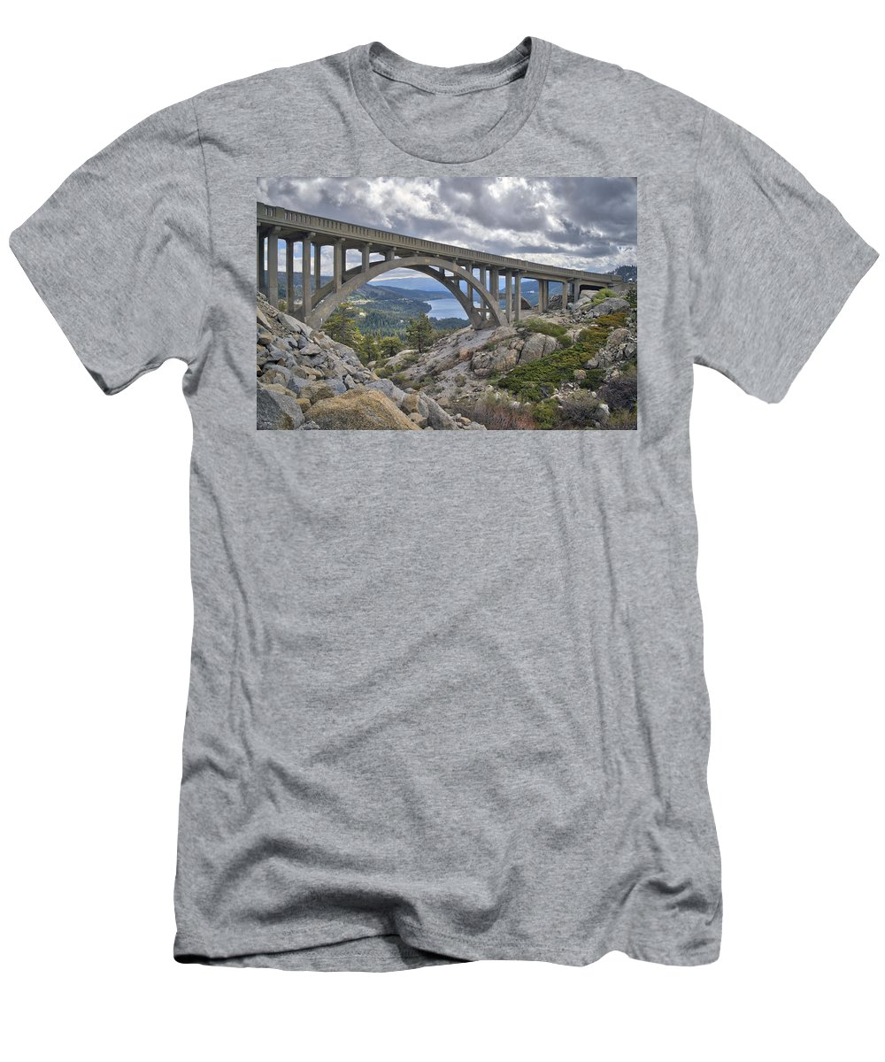 Rainbow Men's T-Shirt (Athletic Fit) featuring the photograph Donner Memorial Bridge by Mark Smith