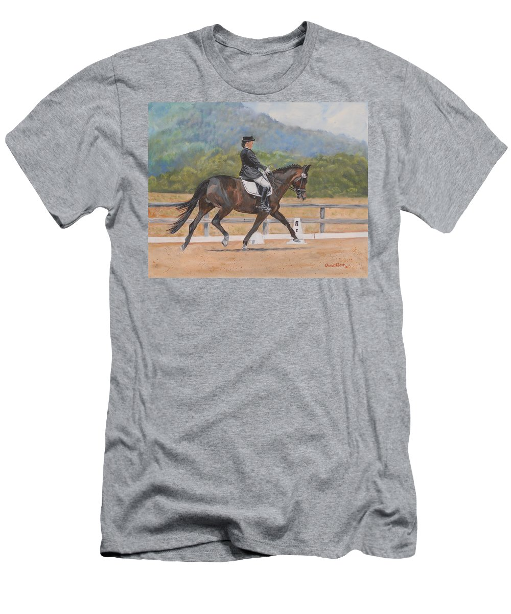 Horse Men's T-Shirt (Athletic Fit) featuring the painting Donnerlittchen by Quwatha Valentine