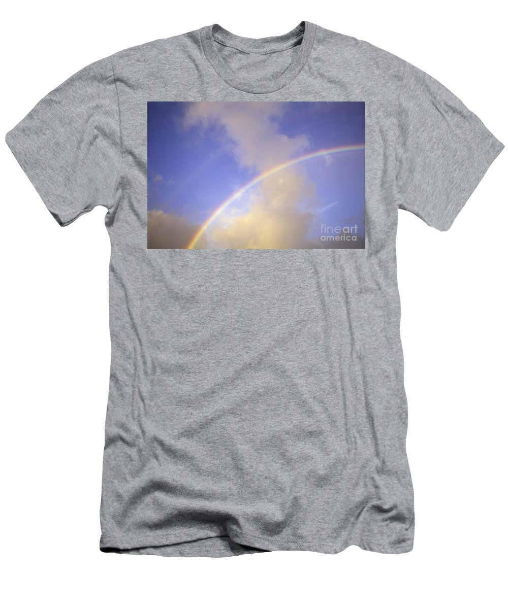 Above Men's T-Shirt (Athletic Fit) featuring the photograph Double Rainbows by Carl Shaneff - Printscapes