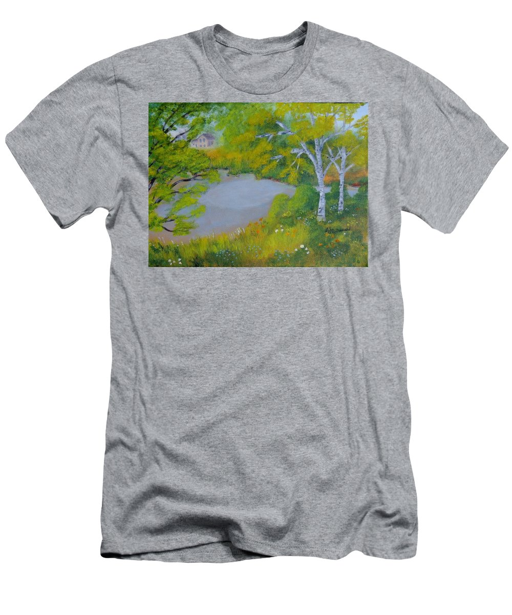 Landscape Men's T-Shirt (Athletic Fit) featuring the painting Down By The River by Lisa MacDonald