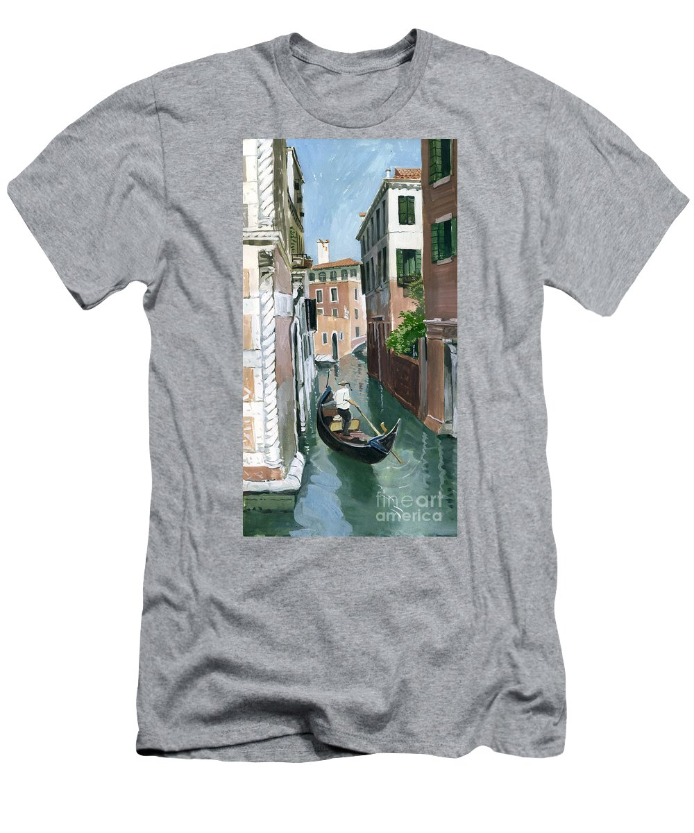 Painting Men's T-Shirt (Athletic Fit) featuring the painting Down The Green Water by Sakurov Igor