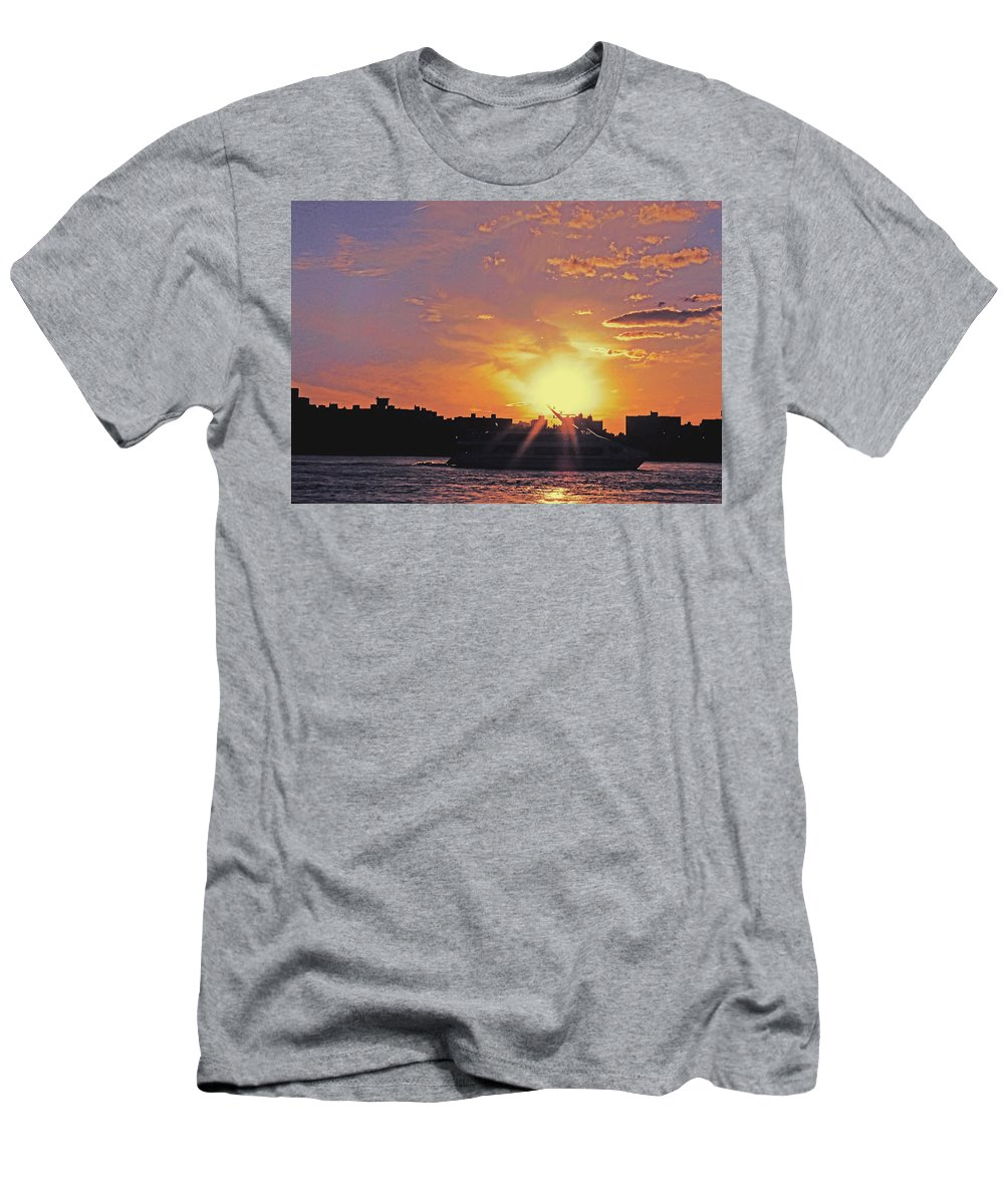 Ship Men's T-Shirt (Athletic Fit) featuring the photograph Down The Hudson by Kendall Eutemey