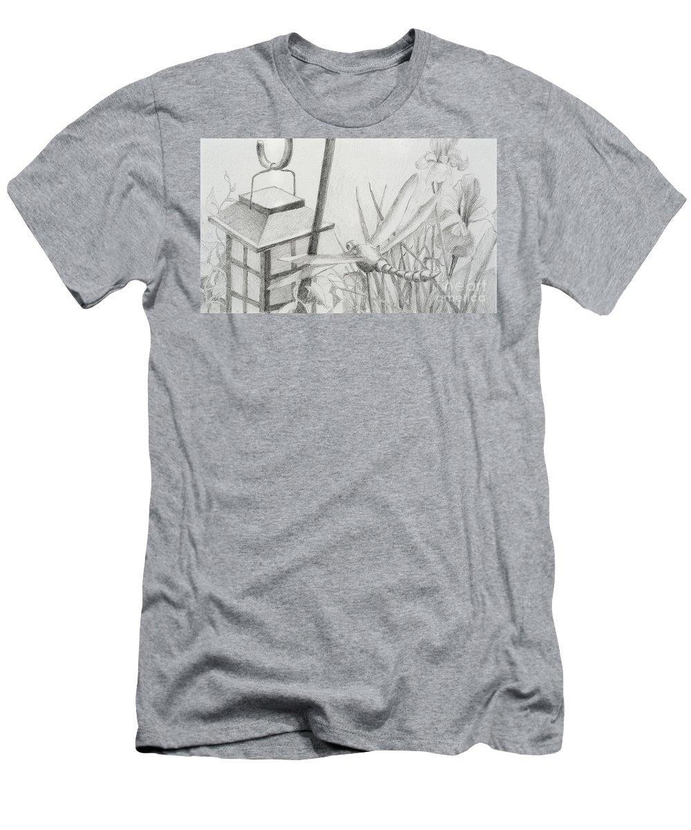 Nature Men's T-Shirt (Athletic Fit) featuring the drawing Dragon Fly And Lantern by Jean Stark