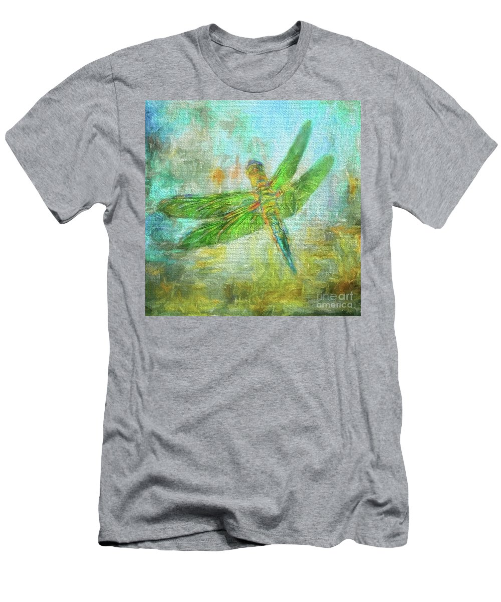 Dragonfly Men's T-Shirt (Athletic Fit) featuring the photograph Dragonfly by Clare VanderVeen
