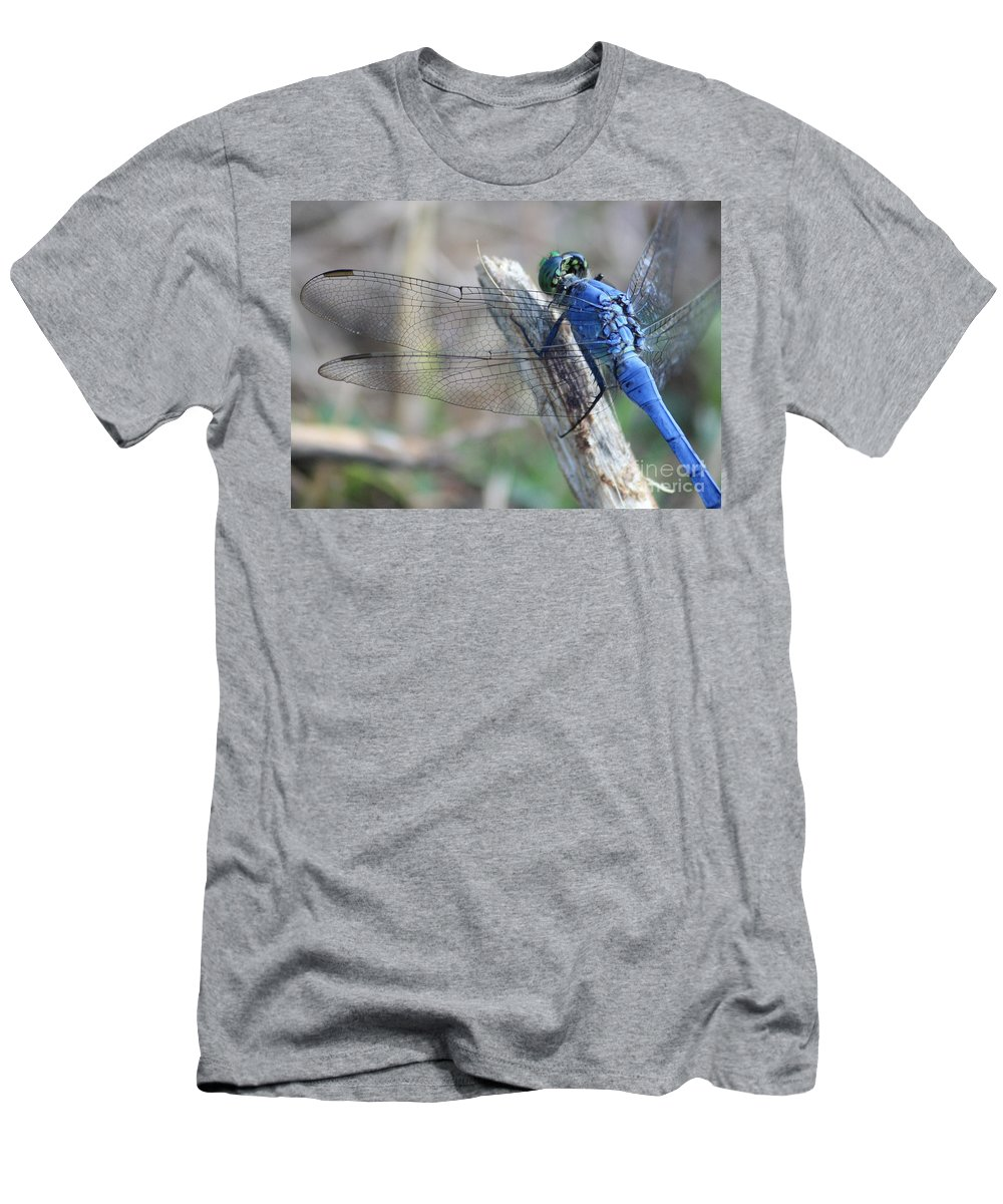 Dragonfly Men's T-Shirt (Athletic Fit) featuring the photograph Dragonfly Wing Detail by Carol Groenen