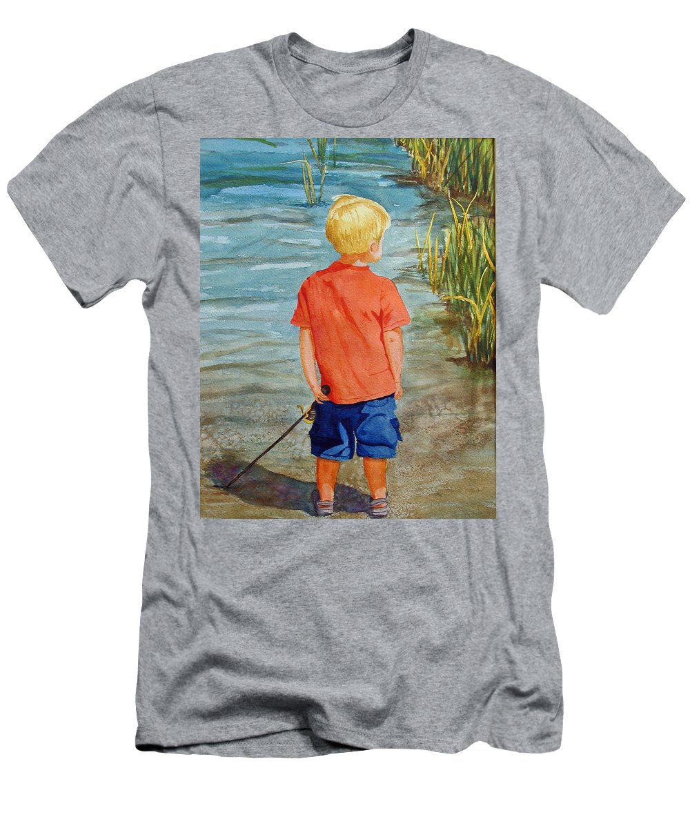 Fishing Men's T-Shirt (Athletic Fit) featuring the painting Dreaming Of The Big One by Anna Lohse