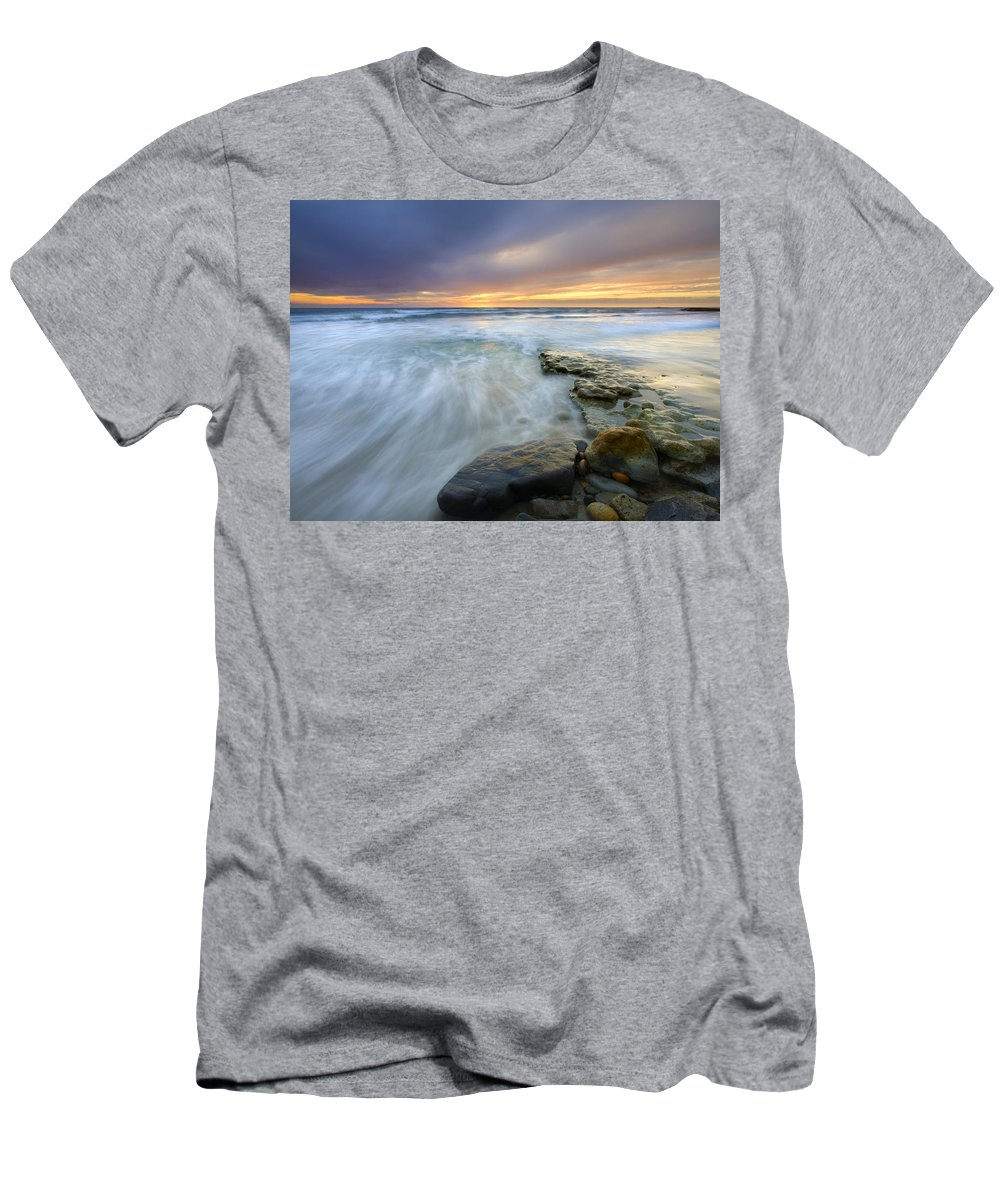 Rocks Men's T-Shirt (Athletic Fit) featuring the photograph Driven Before The Storm by Mike Dawson