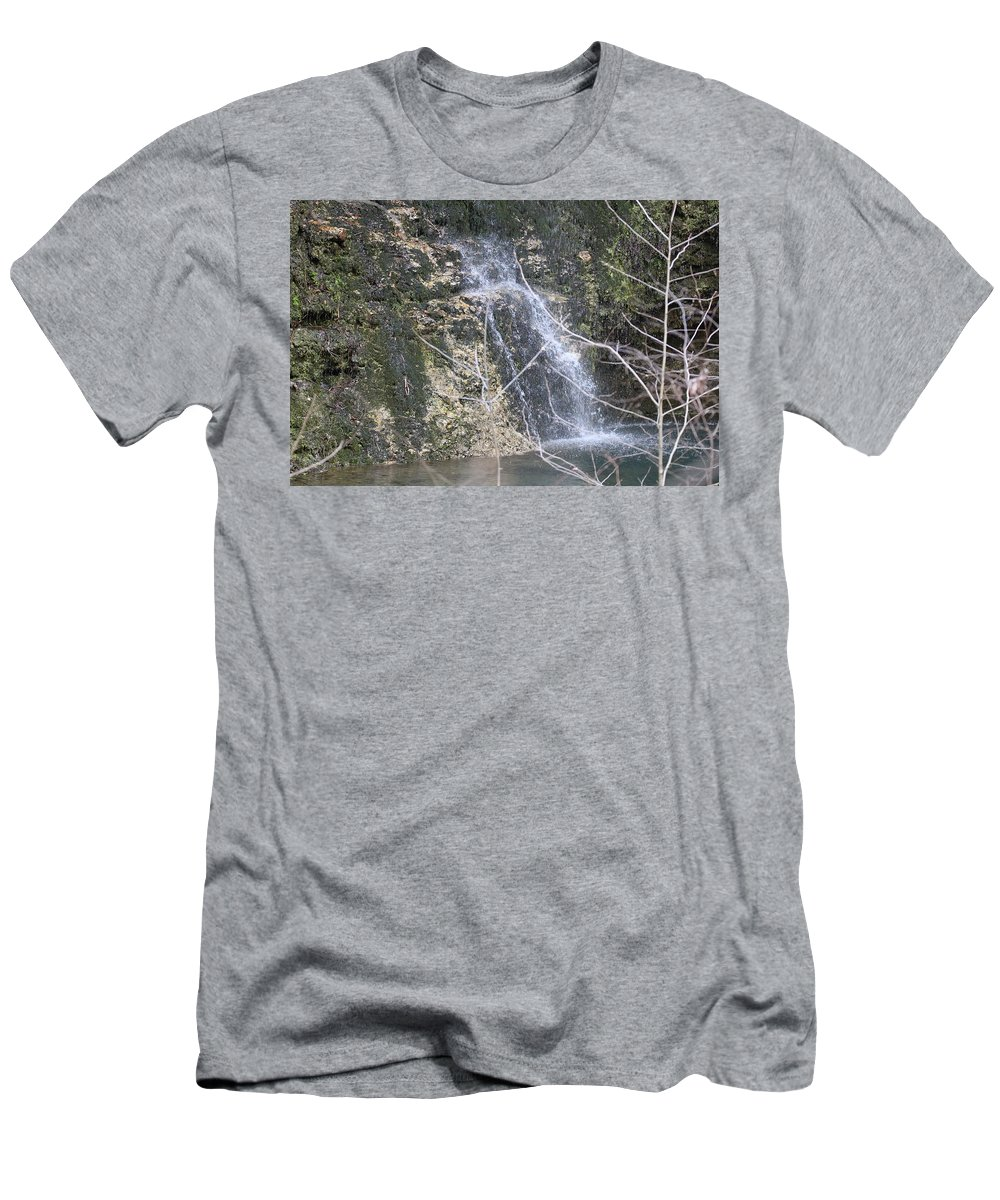Waterfall Men's T-Shirt (Athletic Fit) featuring the photograph Droplets by Emily Spivy