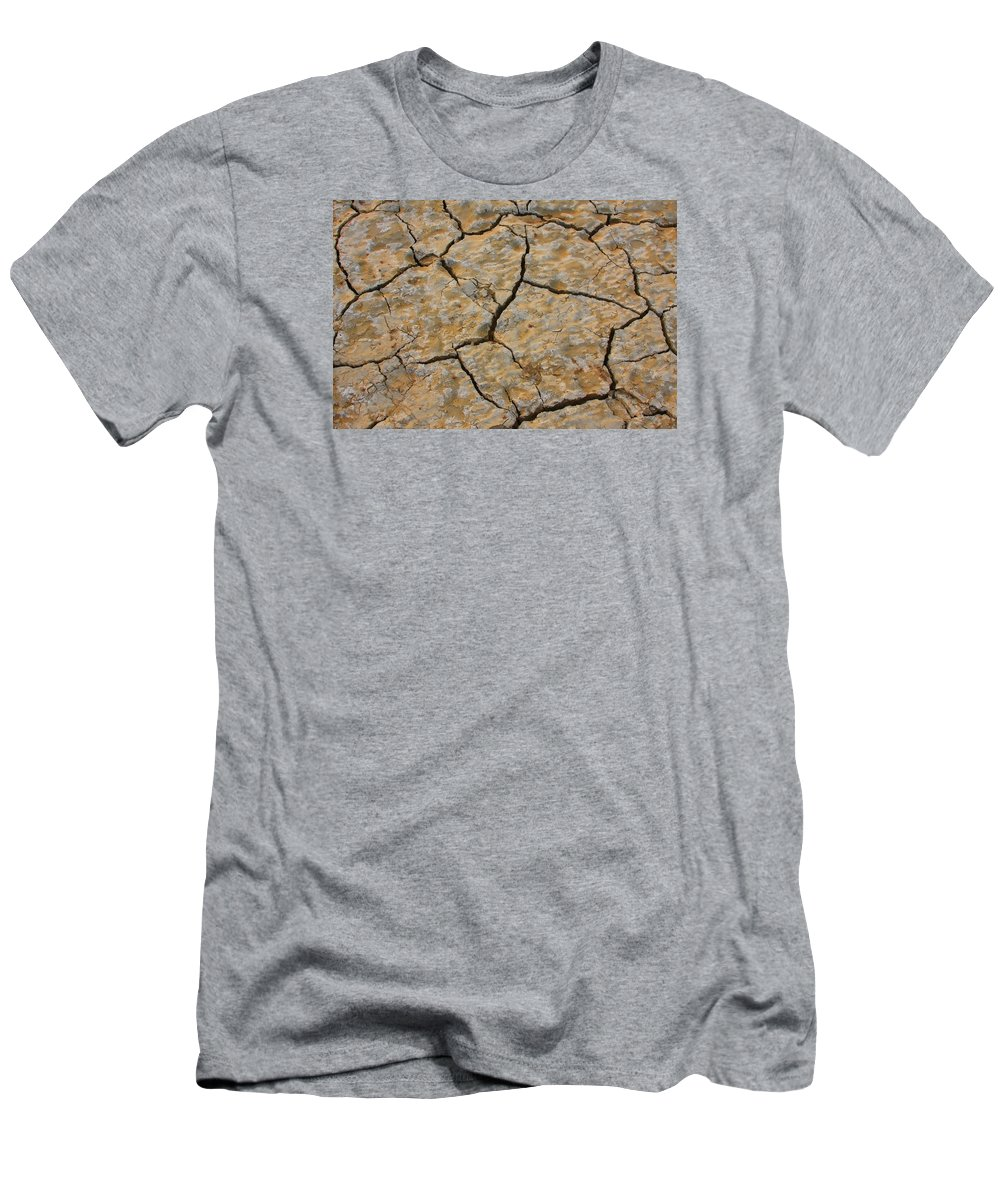 Cracks Men's T-Shirt (Athletic Fit) featuring the photograph Dry Cracked Lake Bed by James BO Insogna