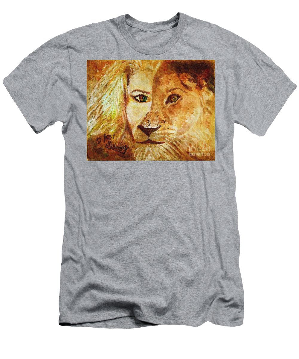 Self Portrait Men's T-Shirt (Athletic Fit) featuring the painting Dualities by Kat Solinsky