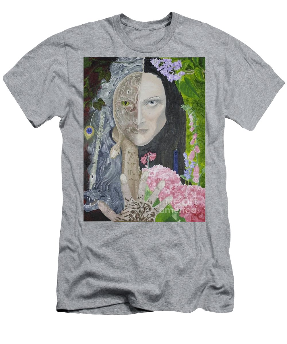 Portrait Dual Personality Flowers Hand Flute Crocodile Snake Boils Men's T-Shirt (Athletic Fit) featuring the painting Duality Of Nature by Pauline Sharp