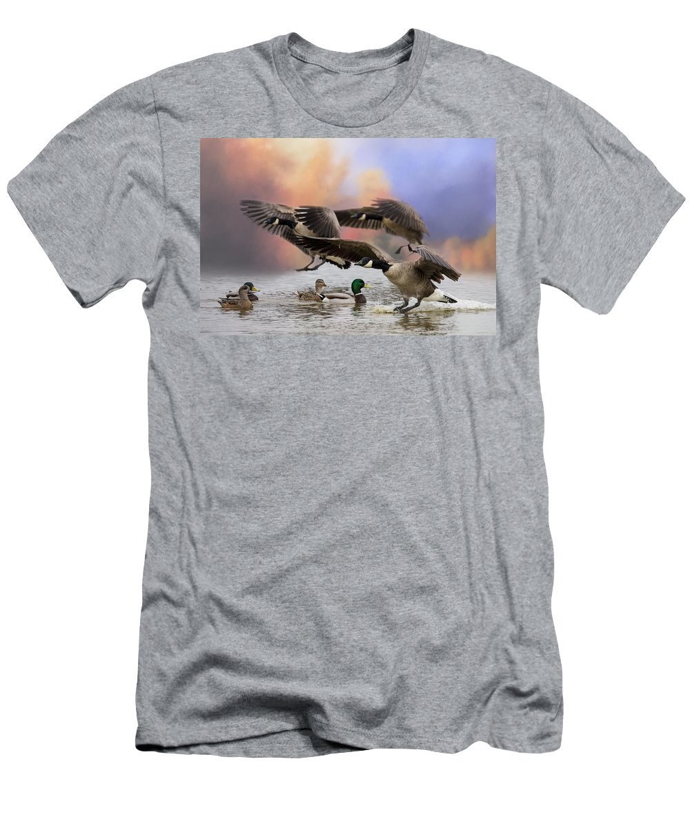 Canada Geese Men's T-Shirt (Athletic Fit) featuring the photograph Duck Ducks 2 by Randy Hall
