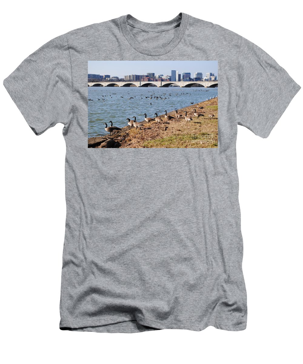 Washington Men's T-Shirt (Athletic Fit) featuring the photograph Ducks Of The Potomac by Jost Houk
