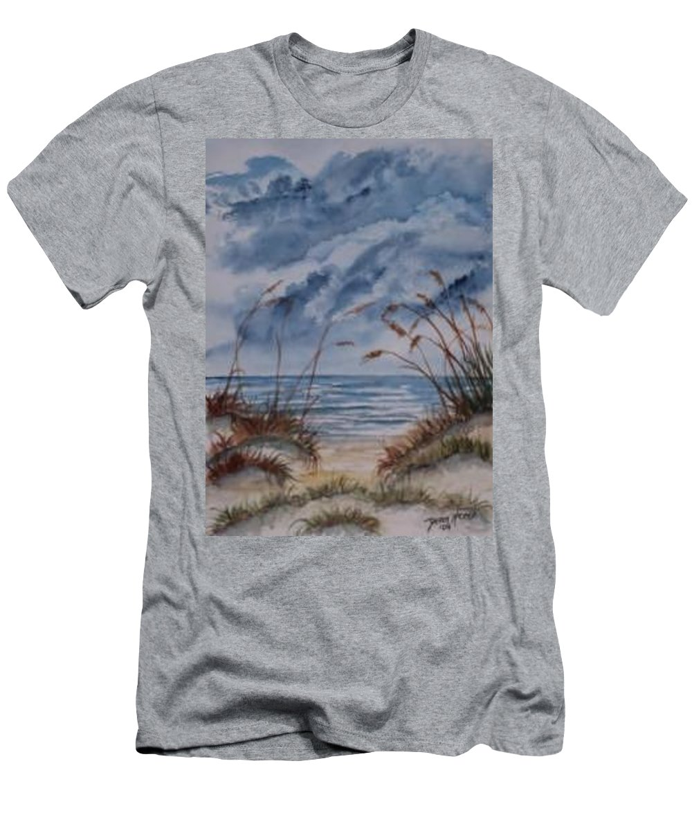 Watercolor Landscape Painting Seascape Beach Men's T-Shirt (Athletic Fit) featuring the painting Dunes Seascape Fine Art Poster Print Seascape by Derek Mccrea