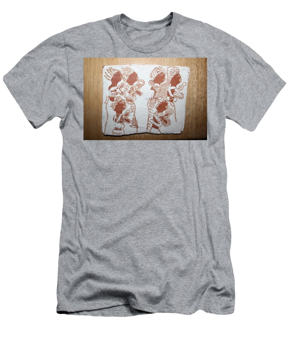 Tilesjesus Elohimplaquesmamamama Africa Twojesus Men's T-Shirt (Athletic Fit) featuring the ceramic art Duty 1 by Gloria Ssali