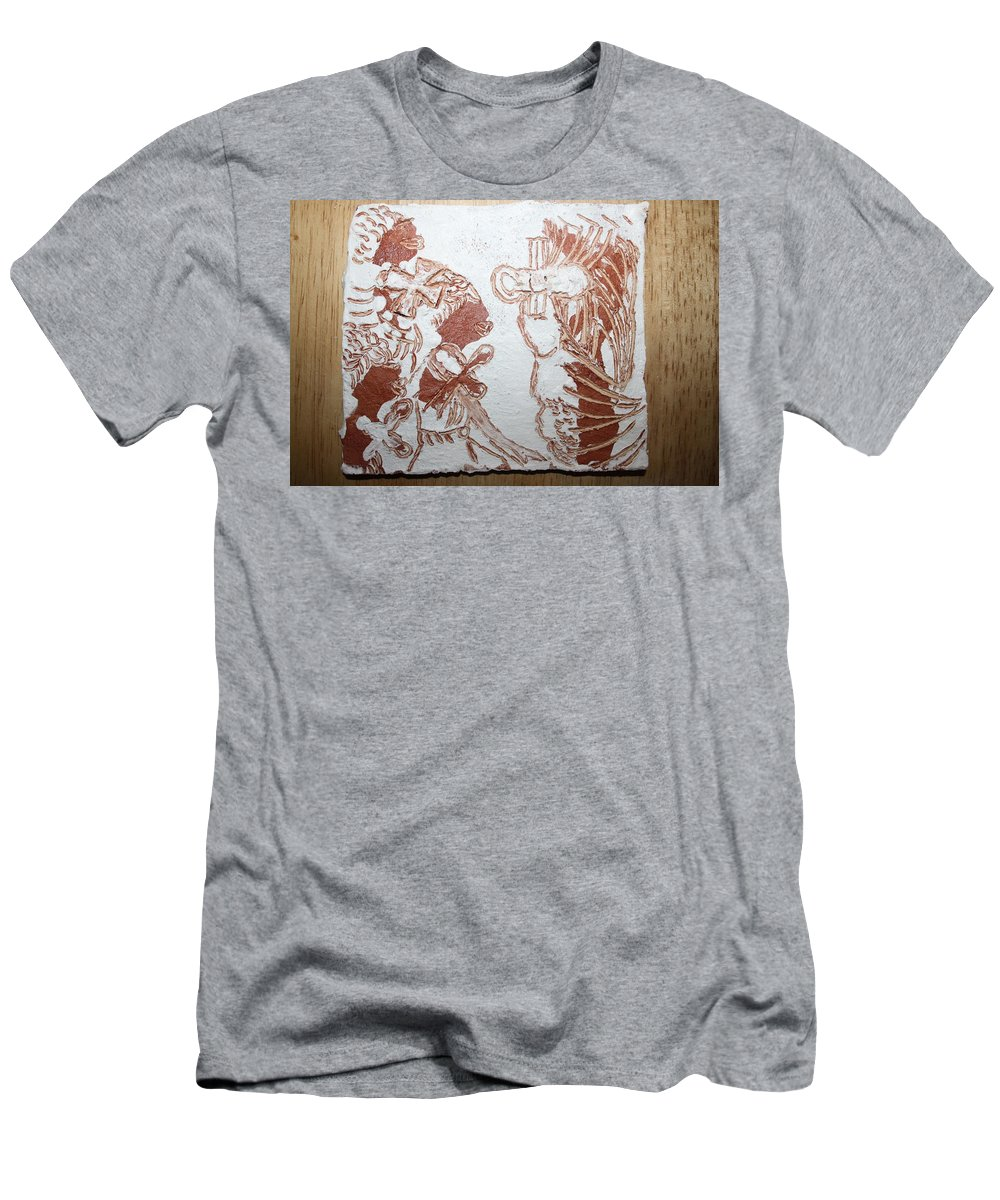 Tilesjesus Elohimplaquesmamamama Africa Twojesus Men's T-Shirt (Athletic Fit) featuring the ceramic art Duty 6 by Gloria Ssali