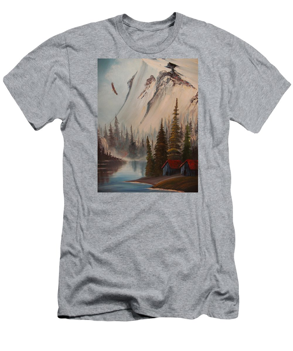 Mountains Landscape With Eagle And Stream Men's T-Shirt (Athletic Fit) featuring the painting Eagle Mountain by Scott Easom
