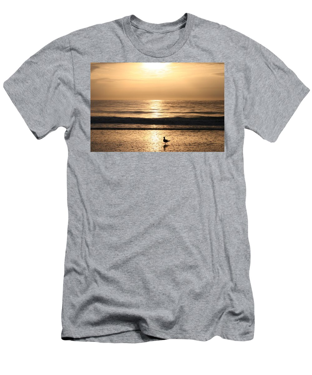 Beach Men's T-Shirt (Athletic Fit) featuring the photograph Early Birdie by Beverly Cummiskey