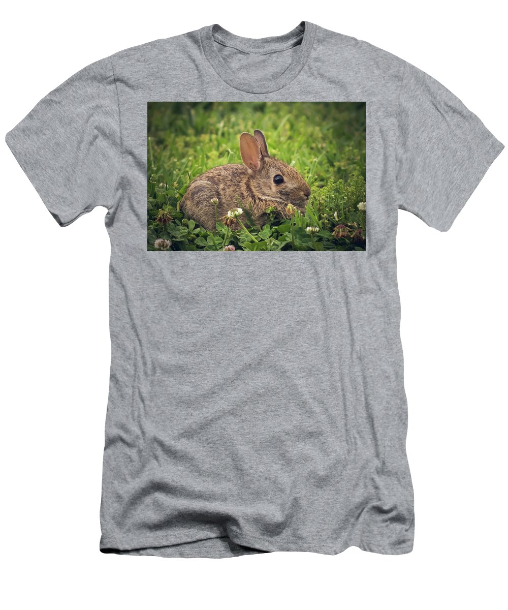 Bunny Men's T-Shirt (Athletic Fit) featuring the photograph Eastern Cottontail by Cynthia Wolfe