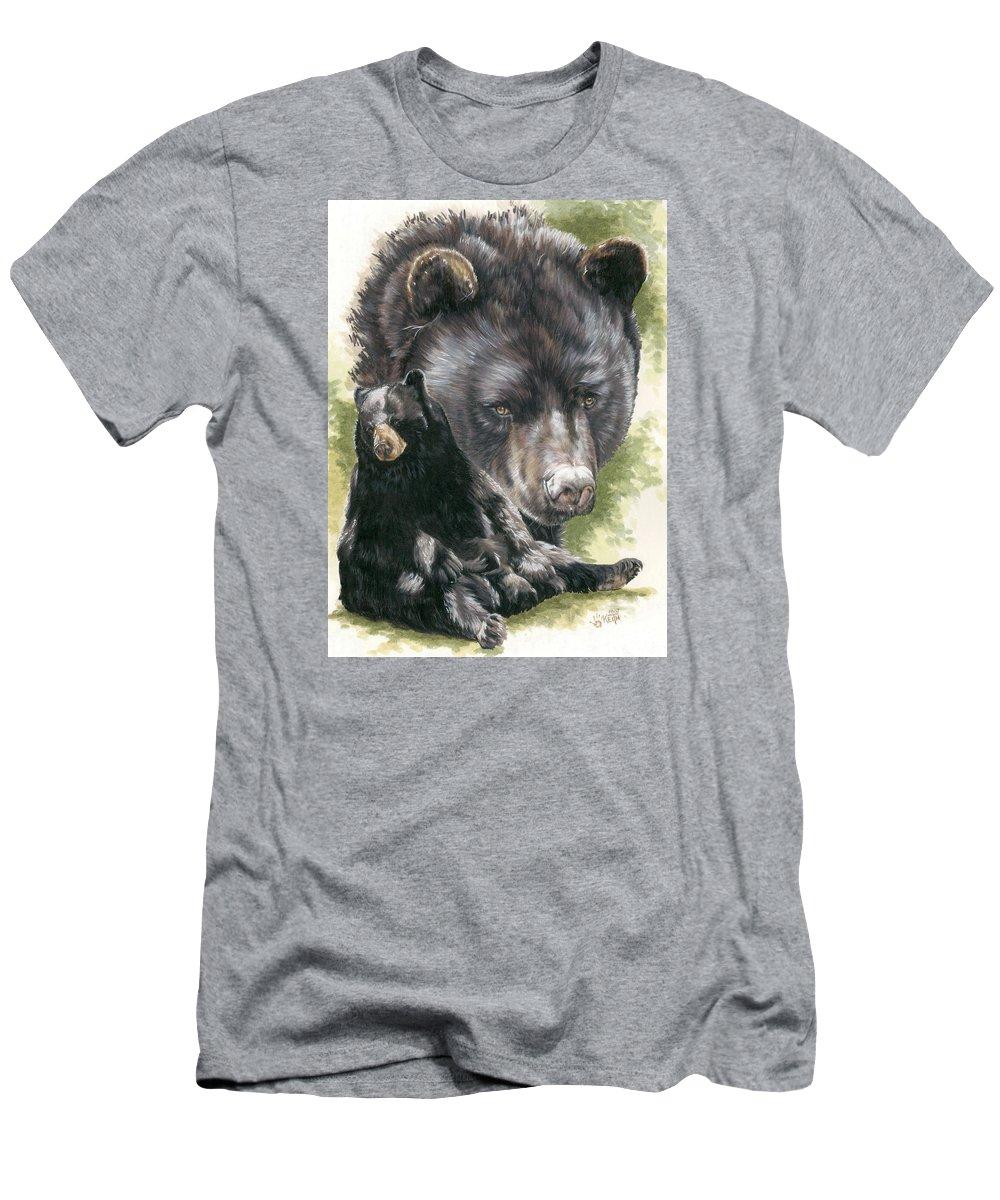 Black Bear T-Shirt featuring the mixed media Ebony by Barbara Keith