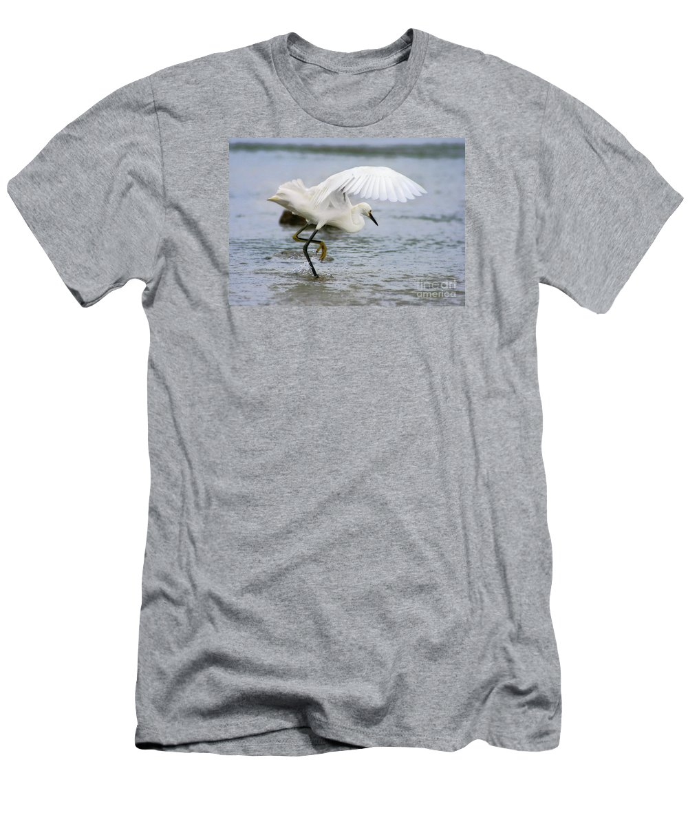 Men's T-Shirt (Athletic Fit) featuring the photograph Egret Hunting by Angela Rath