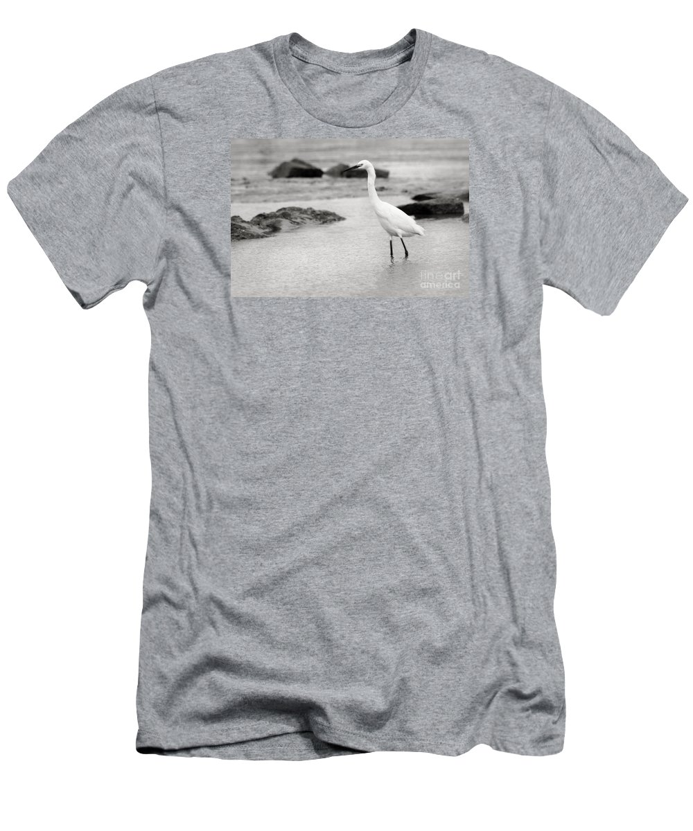 Men's T-Shirt (Athletic Fit) featuring the photograph Egret Patrolling In Black And White by Angela Rath