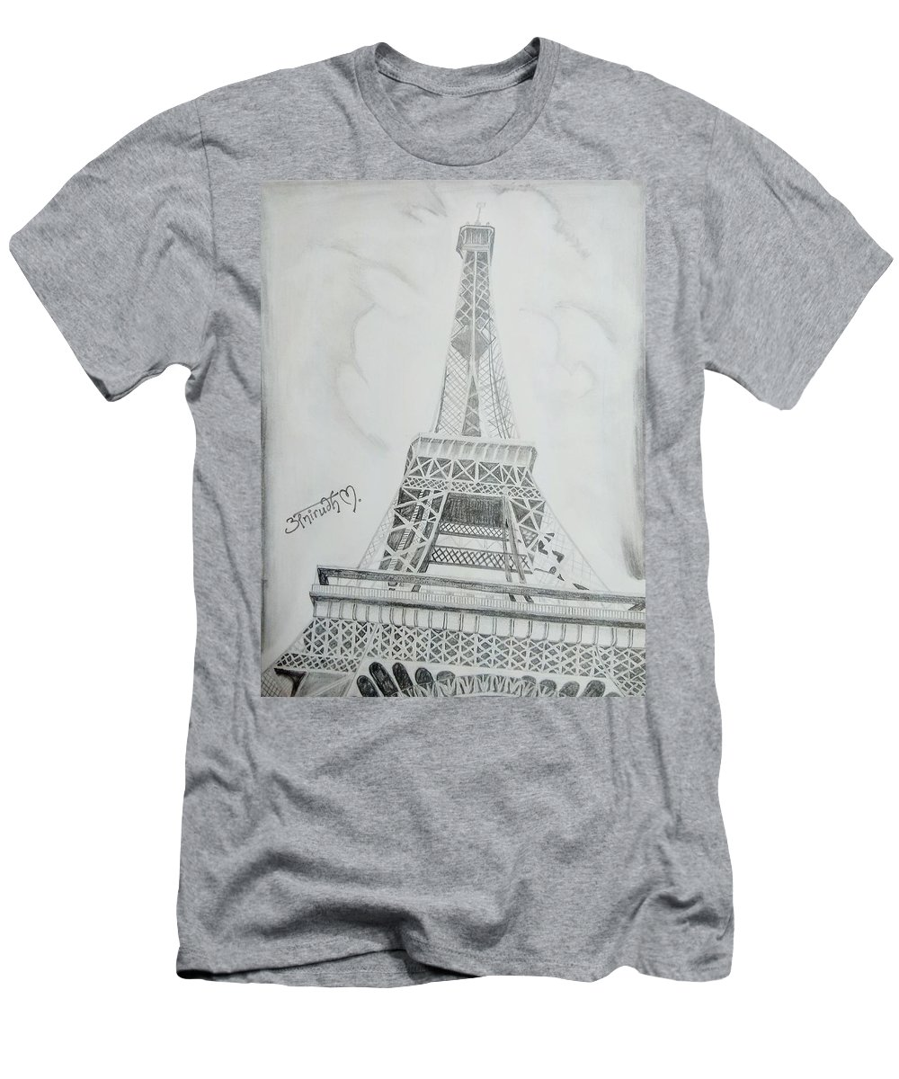 Men's T-Shirt (Athletic Fit) featuring the drawing Eiffel Tower by Anirudh Maheshwari