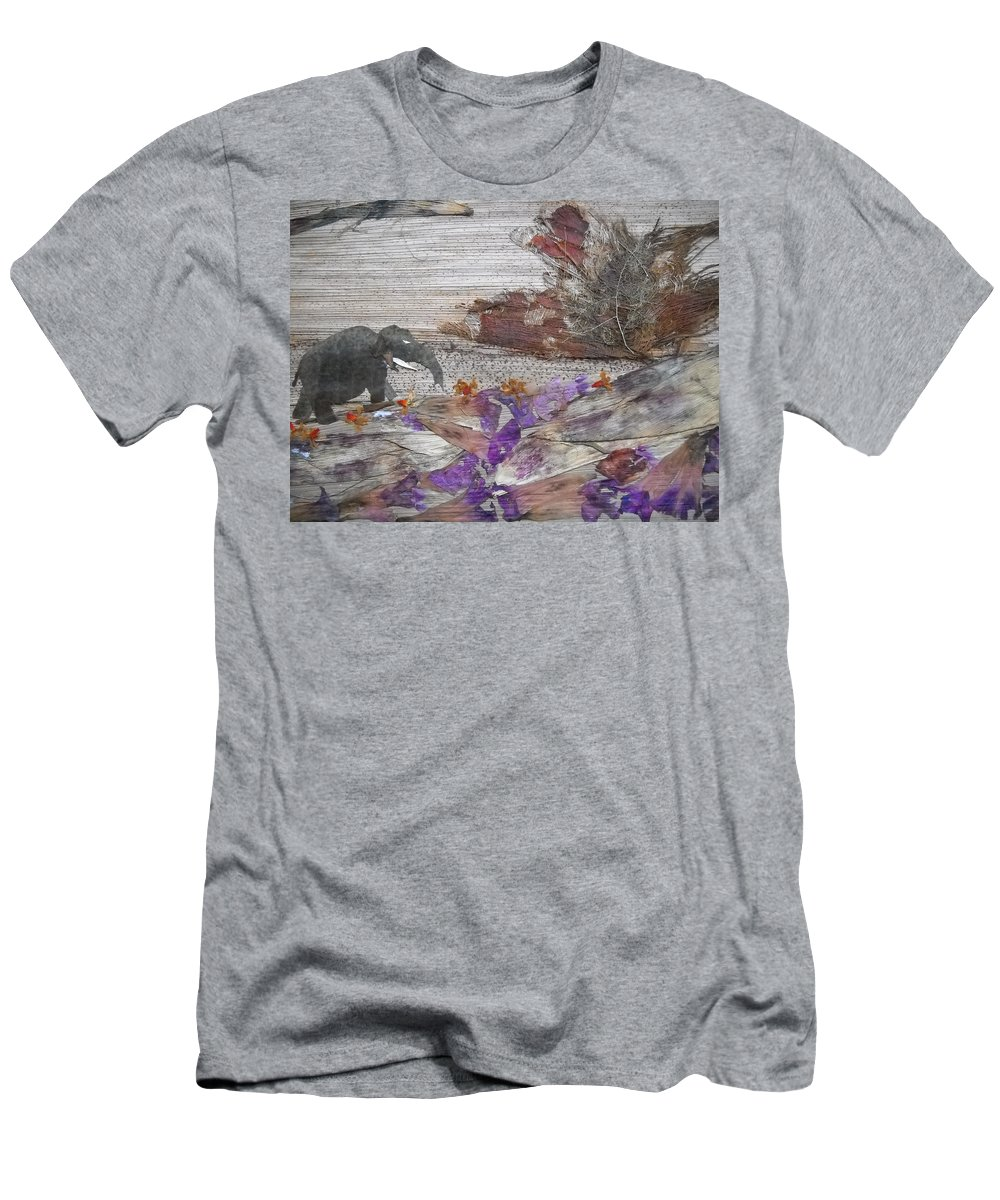Elephant Men's T-Shirt (Athletic Fit) featuring the mixed media Elephant On Steep Road by Basant Soni