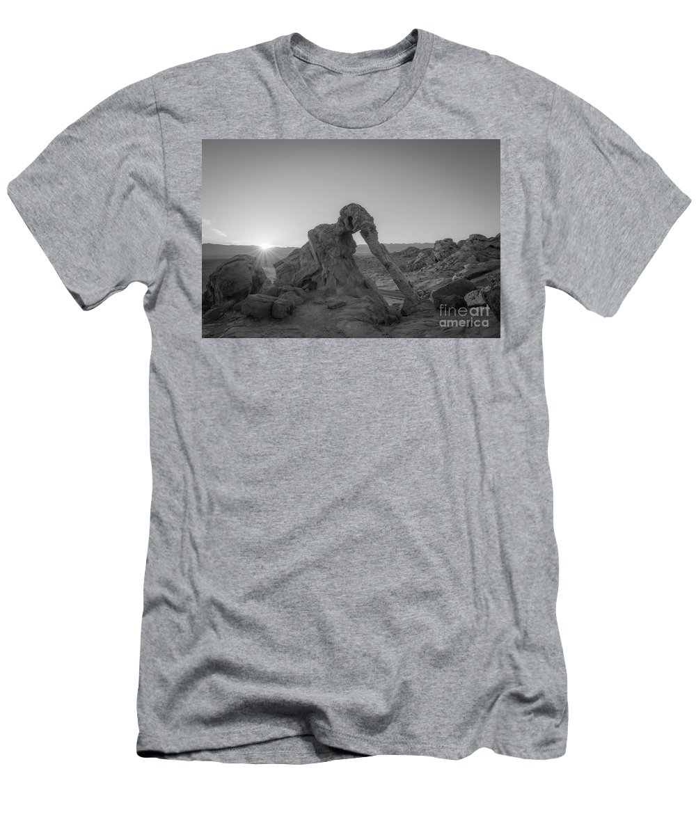 Elephant Rock Men's T-Shirt (Athletic Fit) featuring the photograph Elephant Rock Sunrise Bw by Michael Ver Sprill
