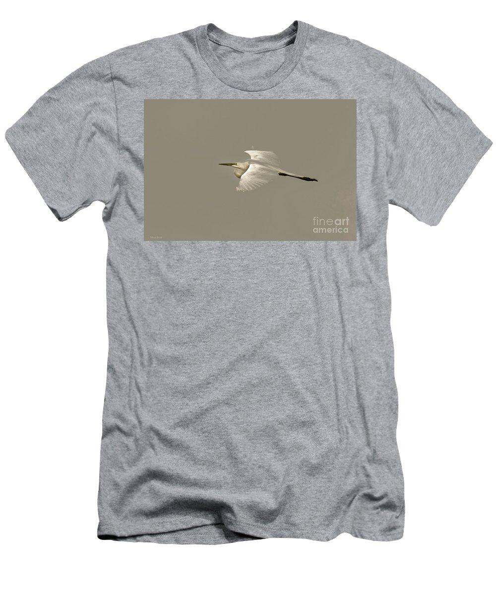 Bird Men's T-Shirt (Athletic Fit) featuring the photograph Elusive Giant Egret by Deborah Benoit