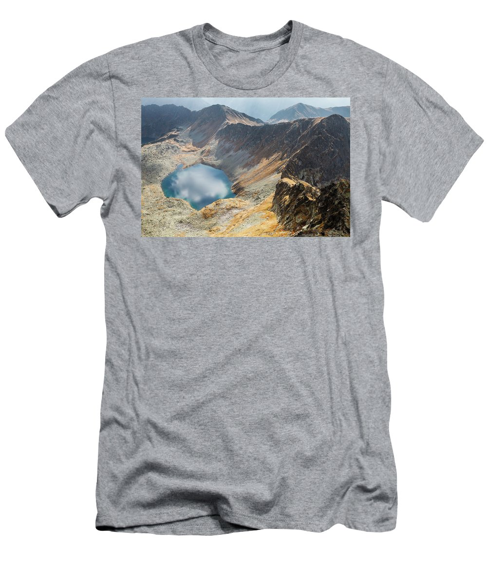 Hill Men's T-Shirt (Athletic Fit) featuring the photograph Emerald Lake Surrounded By Tatra Mountains, Poland by Lukasz Szczepanski