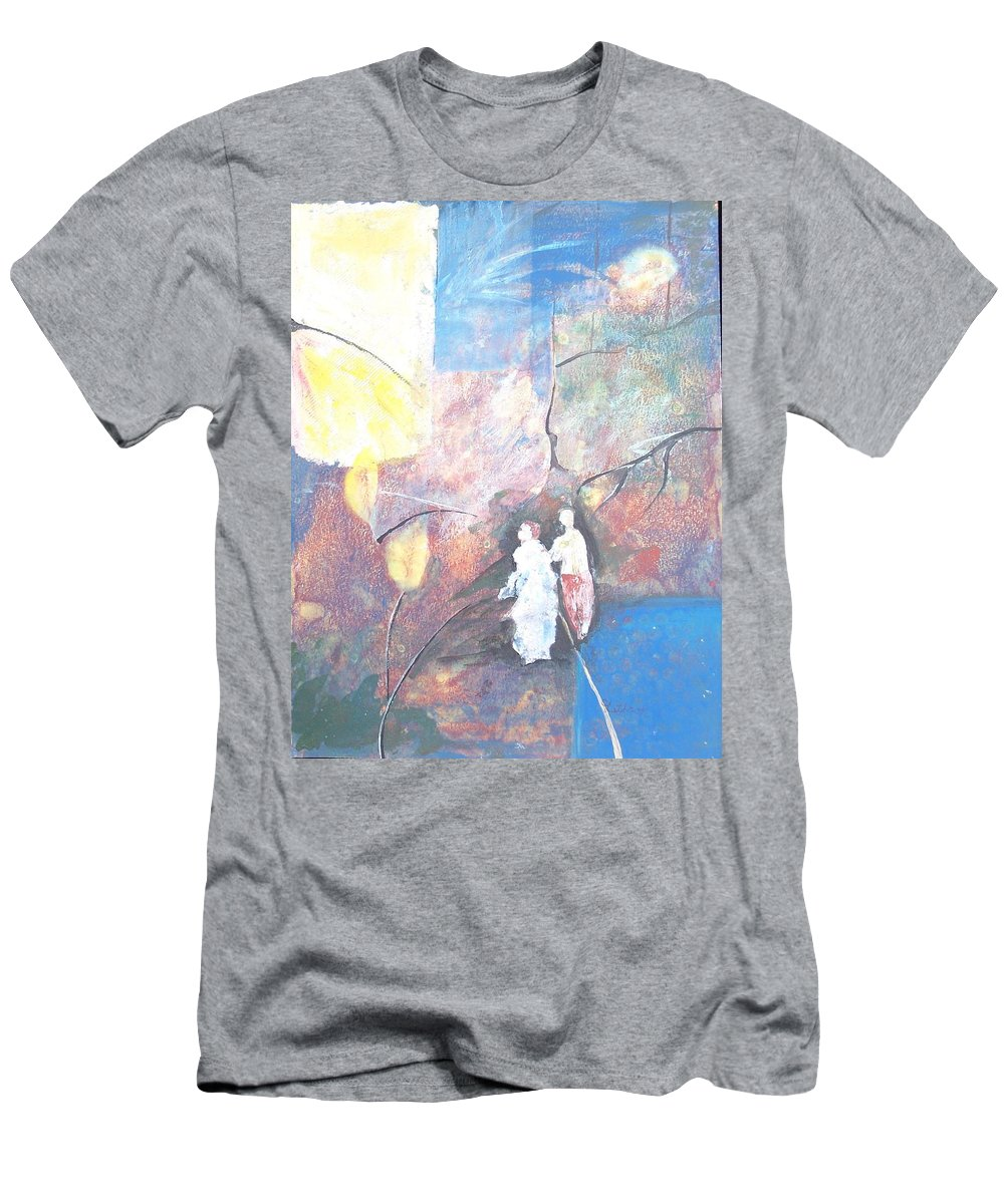 Collage Men's T-Shirt (Athletic Fit) featuring the painting Emergence by Christine Lathrop