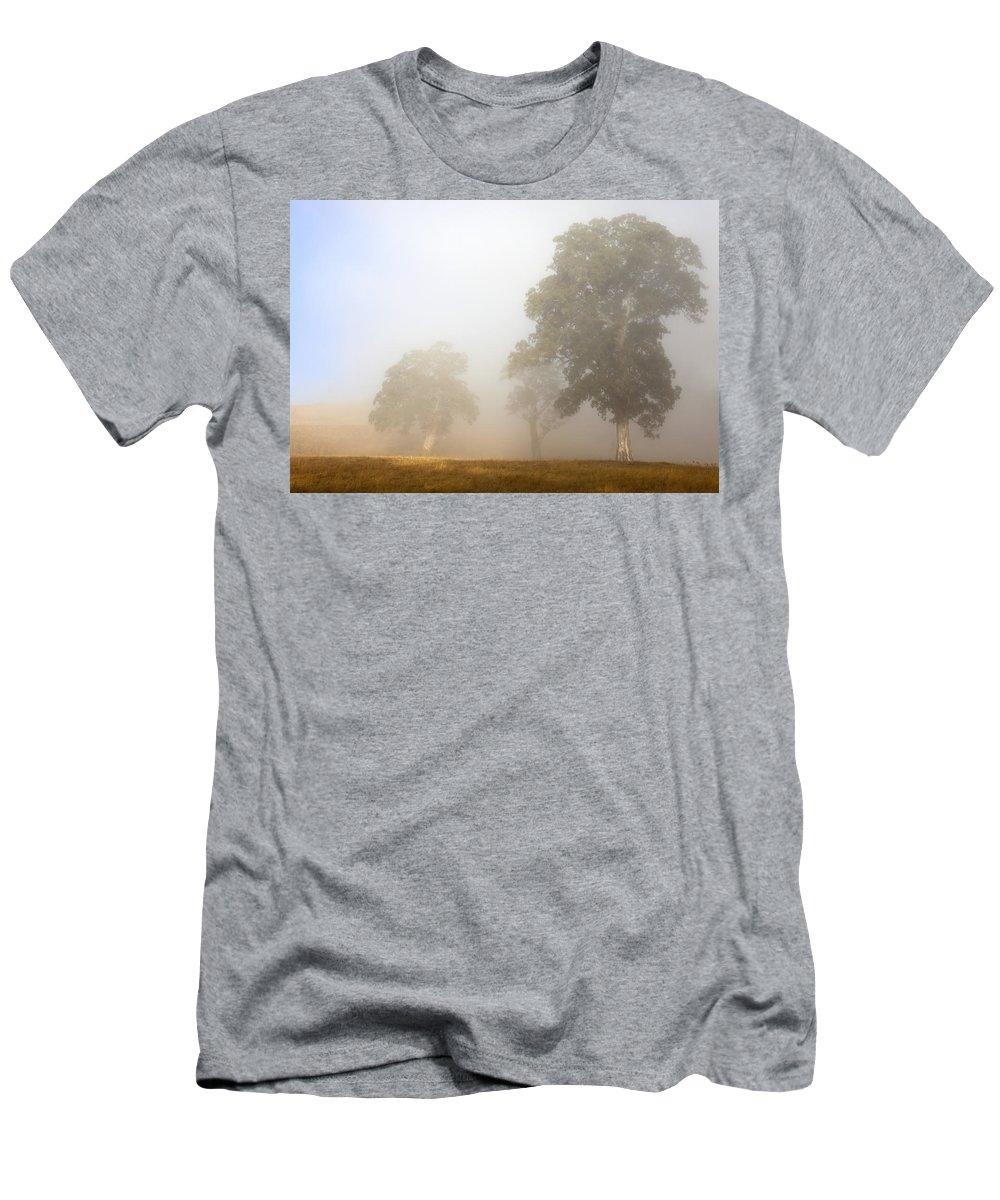 Gum Tree Men's T-Shirt (Athletic Fit) featuring the photograph Emerging From The Fog by Mike Dawson