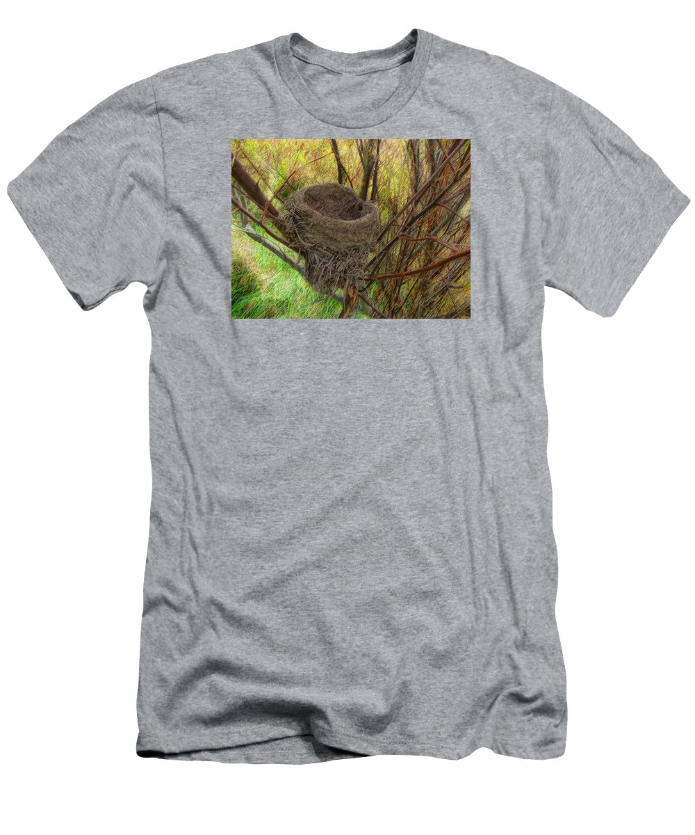 Cedric Hampton Men's T-Shirt (Athletic Fit) featuring the photograph Empty Nest In Autumn by Cedric Hampton