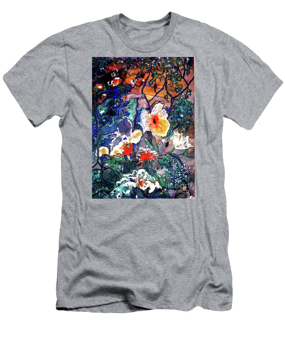 Landscape Men's T-Shirt (Athletic Fit) featuring the painting Enchanted Garden by Norma Boeckler