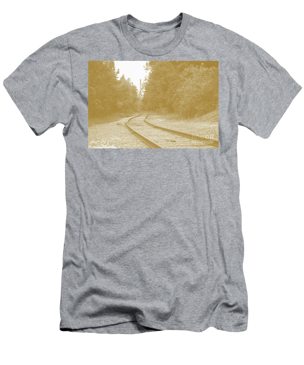 Rail Men's T-Shirt (Athletic Fit) featuring the photograph End Of The Rail-sepia by Jost Houk