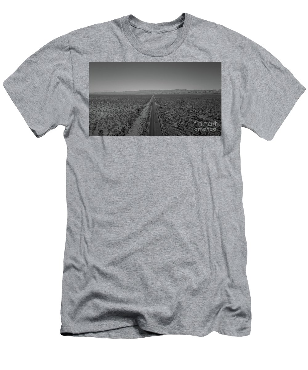 Endless Road Men's T-Shirt (Athletic Fit) featuring the photograph Endless Road Aerial Bw by Michael Ver Sprill
