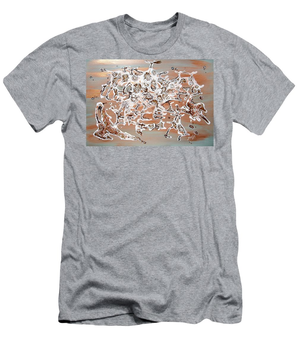 Abstract Mixed Media Men's T-Shirt (Athletic Fit) featuring the painting Energy Dance by Georgeta Blanaru