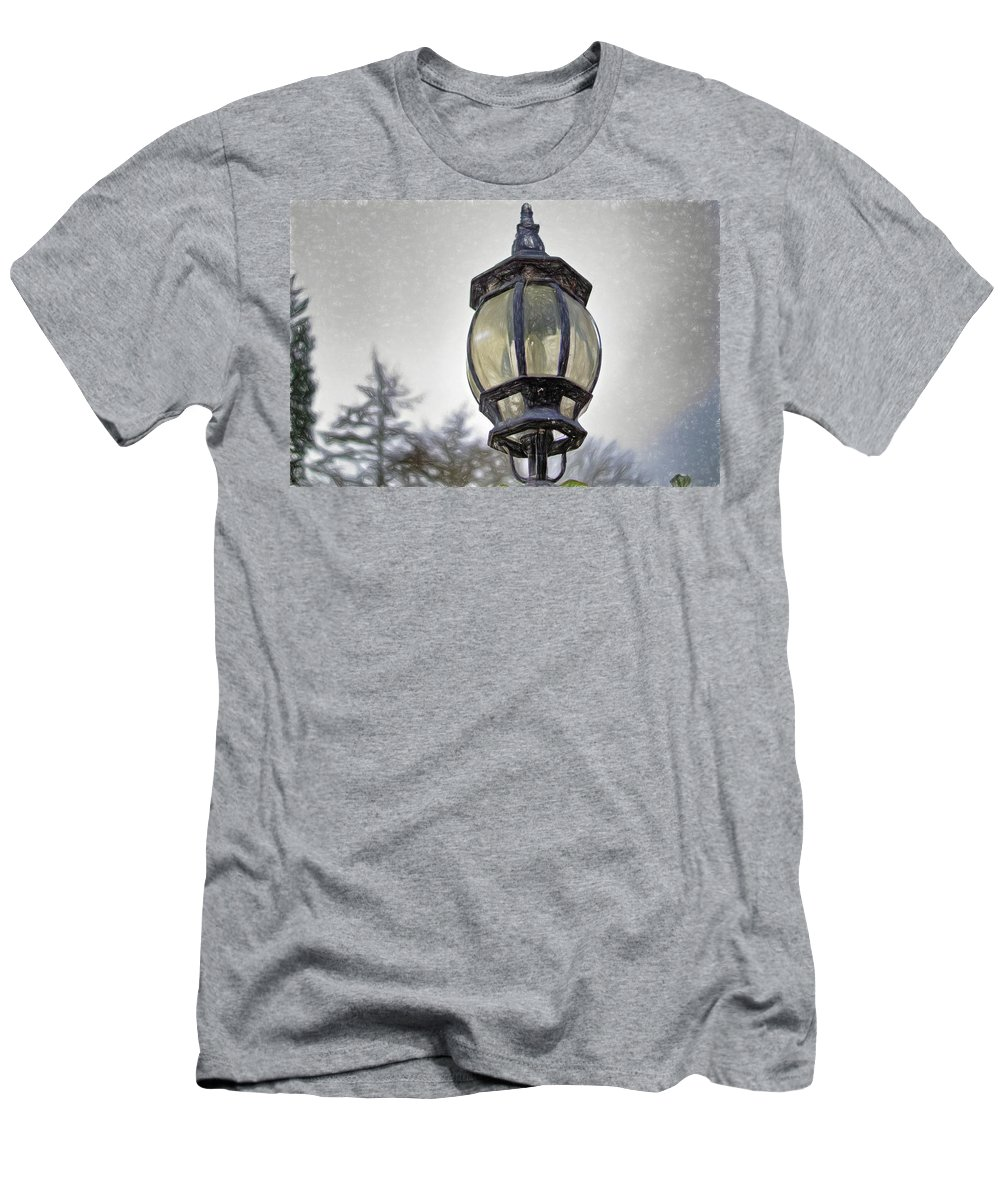 Lamp Men's T-Shirt (Athletic Fit) featuring the digital art English Victorian Style Park Lamp by John W King