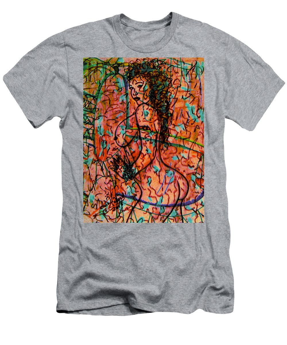 Nude Men's T-Shirt (Athletic Fit) featuring the mixed media Erotic Nude 1 by Natalie Holland