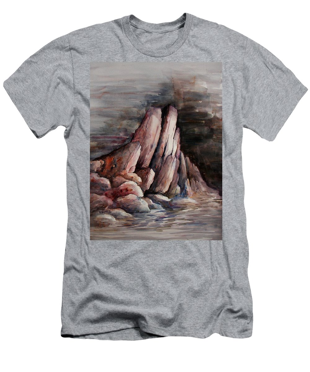 Landscape Men's T-Shirt (Athletic Fit) featuring the painting Eruption by Rachel Christine Nowicki