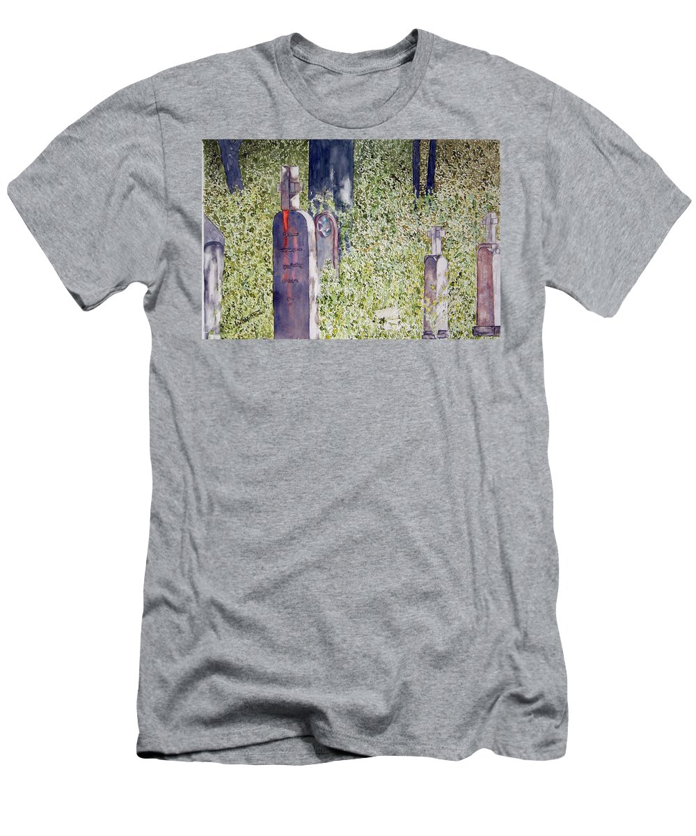 Cemeteries Men's T-Shirt (Athletic Fit) featuring the painting Eternity In Hoonah by Larry Wright