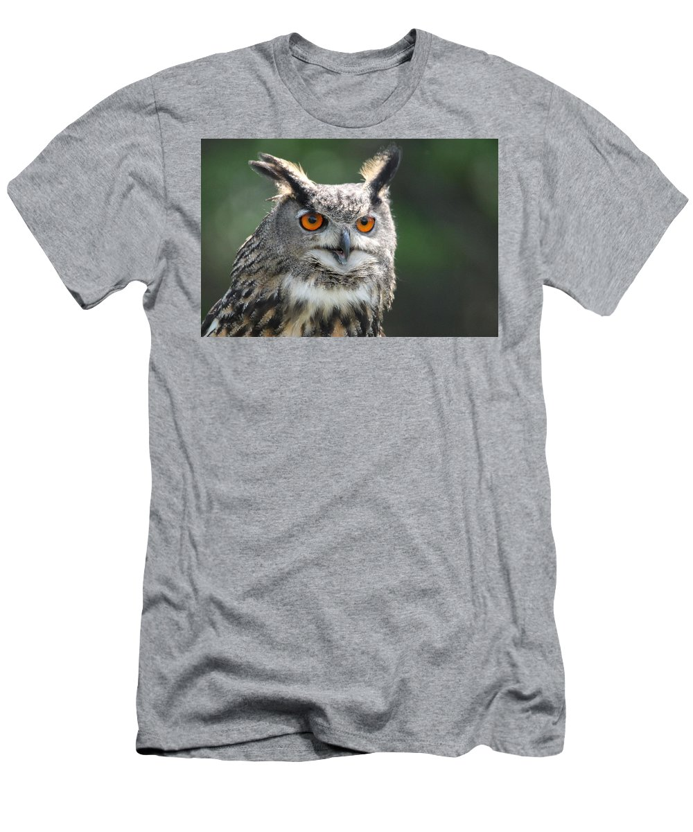 Owl Men's T-Shirt (Athletic Fit) featuring the photograph Eurasian Eagle Owl by CJ Park