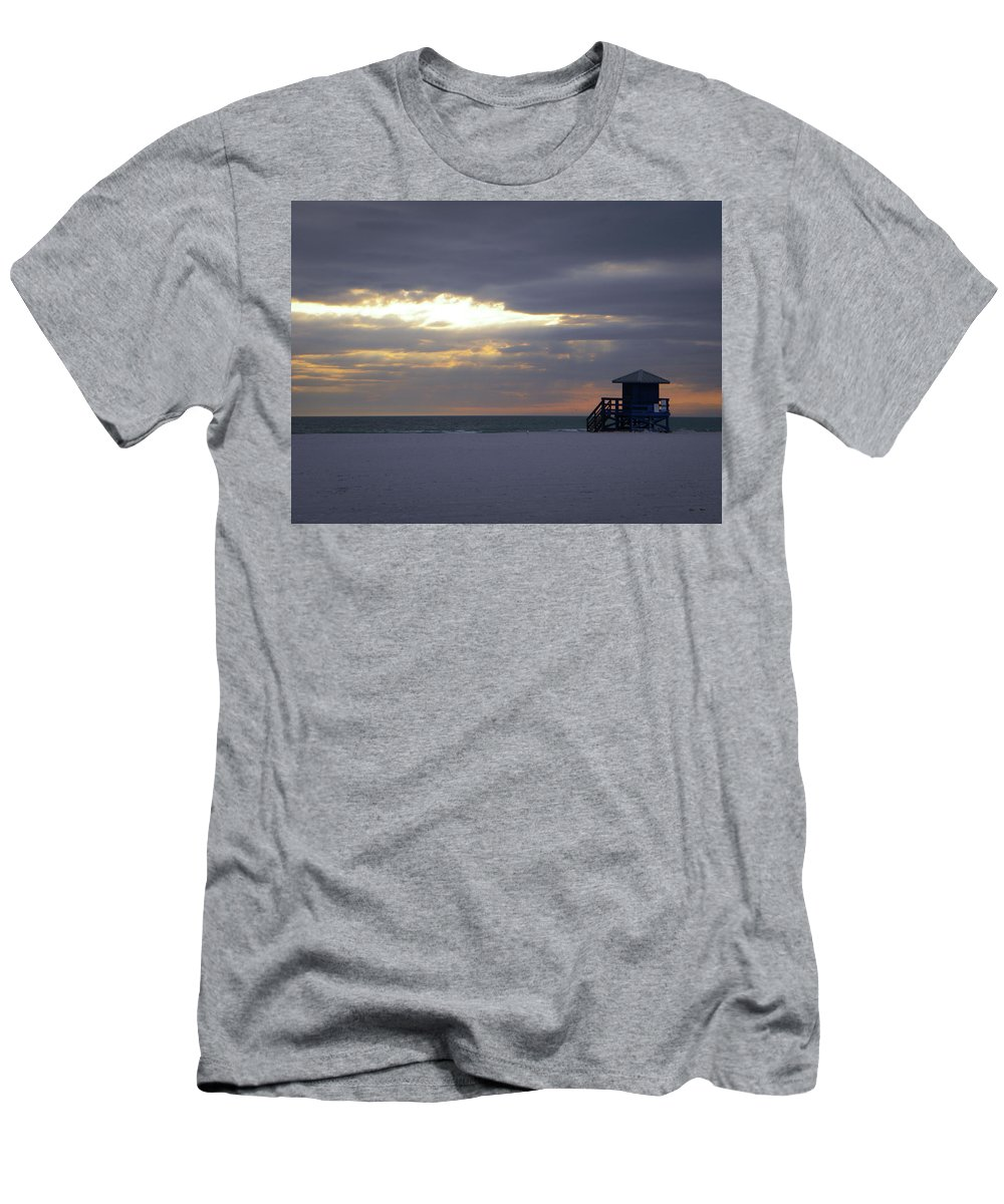 Lifeguard Men's T-Shirt (Athletic Fit) featuring the photograph Even A Cloudy Day by Ric Schafer