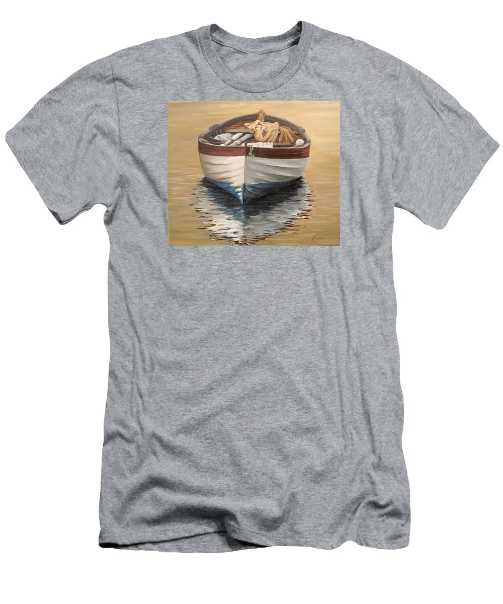 Boats Reflection Seascape Water Men's T-Shirt (Athletic Fit) featuring the painting Evening Boat by Natalia Tejera