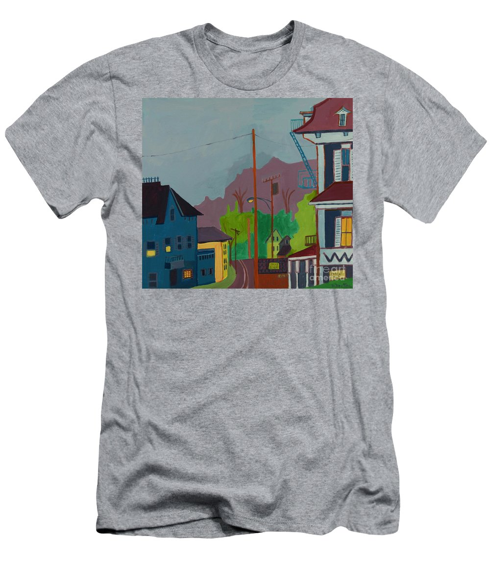 Town Men's T-Shirt (Athletic Fit) featuring the painting Evening In Town Chelmsford Ma by Debra Bretton Robinson