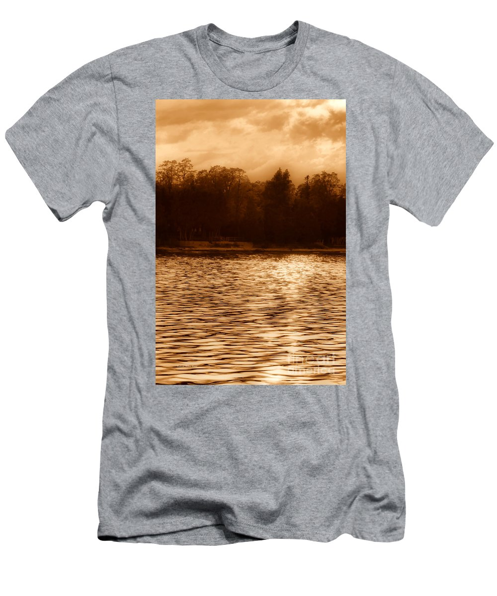 Lake Men's T-Shirt (Athletic Fit) featuring the photograph Evening On The New York Shore by Deborah Benoit