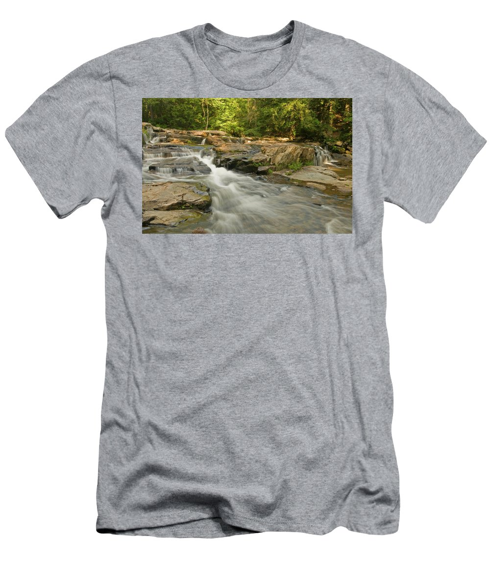 white Mountains Men's T-Shirt (Athletic Fit) featuring the photograph Evening Rush by Paul Mangold
