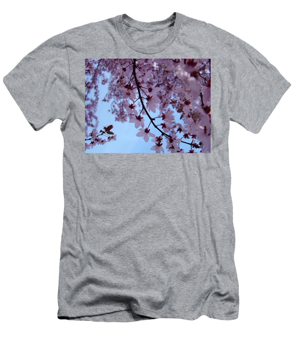 Blossom Men's T-Shirt (Athletic Fit) featuring the photograph Evening Sky Pink Blossoms Art Prints Canvas Spring Baslee Troutman by Baslee Troutman